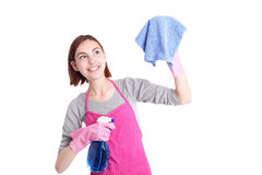 Woman mother cleaning Stock Photo