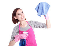 Woman mother cleaning Stock Image
