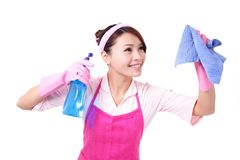 Woman mother cleaning Stock Images