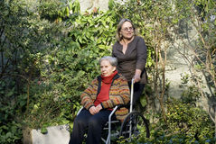 Woman with Mother in Garden - Horizontal Stock Images