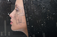 Woman with the motherboard Stock Images