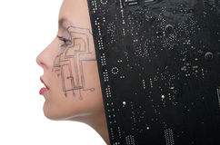 Woman with the motherboard Royalty Free Stock Images