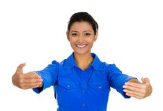 Woman motioning with arms to come and give her a bear hug royalty free stock image