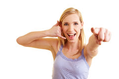 Woman motivating for a call Royalty Free Stock Photography