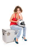 Woman moto sitting with helmet Royalty Free Stock Photos