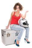 Woman moto sitting with helmet Royalty Free Stock Photo