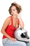 Woman moto sitting with helmet Royalty Free Stock Images
