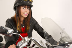 Woman Smiling Riding Motorcycle Helmet Handlebars Stock Images
