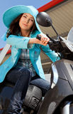 Woman motoped Royalty Free Stock Image