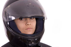 Woman in motor-cycle helmet Royalty Free Stock Photos