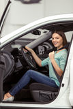Woman in motor show Royalty Free Stock Photo
