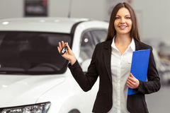 Woman in motor show Royalty Free Stock Images