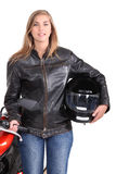 Woman with motorbike Stock Photo