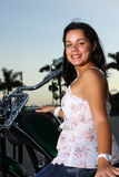 Woman on a motorcycle Royalty Free Stock Images