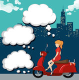 Woman on motorcycle in the city Stock Images