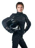 Woman in motorcycle clothing Stock Image