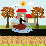 Woman on a motorcycle Royalty Free Stock Image