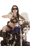 Woman motorcycle fish net glasses facing royalty free stock images
