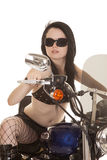 Woman motorcycle fish net glasses serious stock photography