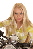 Woman motorcycle green plaid close serious expression Royalty Free Stock Photo