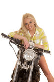 Woman motorcycle green plaid lean smile Royalty Free Stock Images