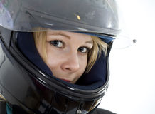 Woman in a motorcycle helmet Stock Photos