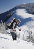 Woman is in mountain Stock Images