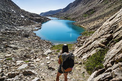 Woman Mountain Backpacker Royalty Free Stock Photo