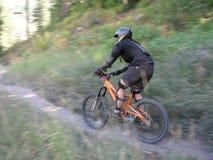 Woman mountain bike 4. Woman Racing mountain bike zooming past 4 stock photo
