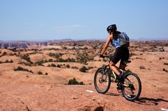 Woman mountain biking royalty free stock photo