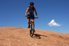 Woman mountain biking Stock Photo