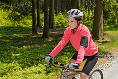 Woman mountain biking in forest sunny day royalty free stock photography