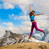 A woman in mountain day autumn stock images