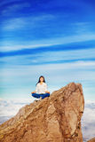 Woman on mountain Stock Image