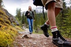 Woman on Mountain Hike royalty free stock image