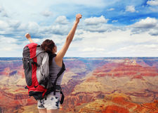 Woman mountain hiker in grand canyon Royalty Free Stock Photography