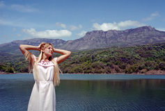 Woman and mountain lake Royalty Free Stock Photography