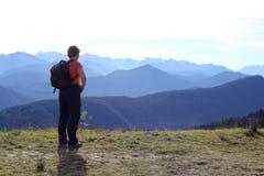 Woman on a mountain Stock Photo