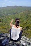 Woman on Mountain Overlook stock photos