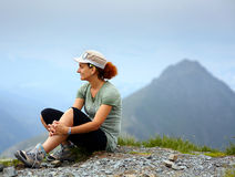 Woman on mountain, resting Royalty Free Stock Image