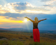 Woman in the mountain royalty free stock photo