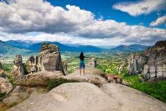 Woman on mountain stock image