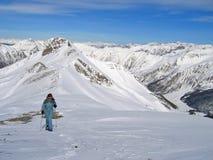 Woman mountain trekker Royalty Free Stock Photography