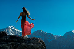 Woman in the Mountains. Beautiful woman in the Mountains Royalty Free Stock Images
