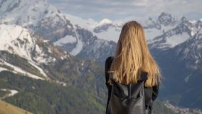 Woman In the Mountains stock video