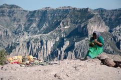 Woman and the mountains. Mexico. Copper Canyon is a beautiful and majestic scenery. It is located in the state of Chihuahua, in the mountains of the Sierra Madre Royalty Free Stock Photos