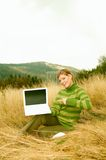 Woman Mountains Outdoors Stock Photography