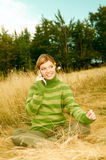Woman Mountains Outdoors Stock Image