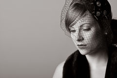 Woman in Mourning. Powerful Black and White Shot of a Woman in Mourning Stock Images