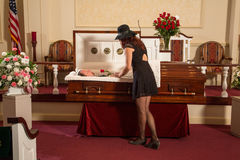 Woman mourning. A women mourning the deceased Royalty Free Stock Image